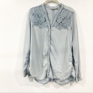 Anthropologie Holding Horses Chambray Blouse